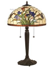 Y16392 Tafellamp Zwart H62cm met Tiffany kap Ø40cm Papillons