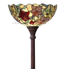 YT22 Vloerlamp Uplight Bruin H184cm met Tiffany kap Ø40cm Red Lilly