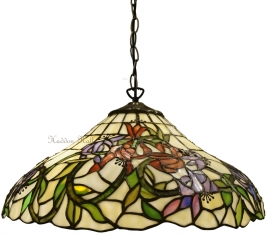 5809 97 Hanglamp Tiffany Ø40cm fuchsia motief