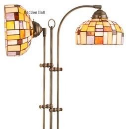 Gph1 10  Vloerlamp Half Rond met 2 Tiffany kappen Ø20cm Iglo Color