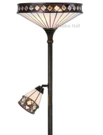 T4P40 Vloerlamp H178cm met 2 Tiffany kappen Ø40 en Ø14cm Fargo