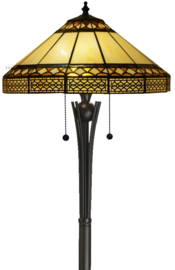 V465 Vloerlamp Zwart H158cm met Tiffany kap Ø45cm Barok