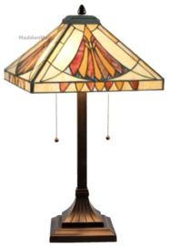 CT10273 Tafellamp H60cm met Tiffany kap 36x36cm Art Deco Sun