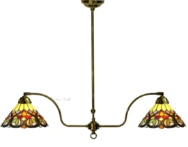 COT08 Hanglamp Messing met 2 Tiffany kappen Ø25cm Sydän