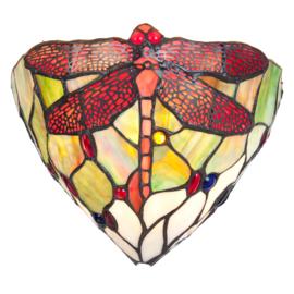 5846 Wandlamp Tiffany B30cm Schelpmodel Multicolor Dragonfly