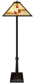 KT50 Vloerlamp Zwart  H161cm met Tiffany kap 46x46cm Quadratum