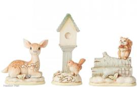 Birdhouse, Deer & Squirrel - Set van 3 White Woodland Jim Shore 6004169