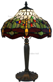 5849 Tafellamp Tiffany H47cm Ø30cm Multicolor Dragonfly
