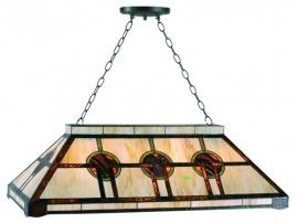 5473 Hanglamp Tiffany  B92cm Biljart model Art Deco motief