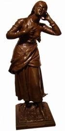 Jéanne D'Arc H72cm Brons beeld Etienne Henri Dumaige 1875