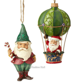Set van 2 Hanging ornament Wonderland Gnome - Santa in Air Balloon - Jim Shore