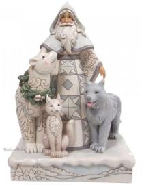 White Woodland Santa Statement With Animals H48cm ND6008858
