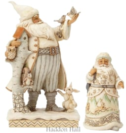 Set van 2 Jim Shore White Woodland Santa's 4058735 en 4058737