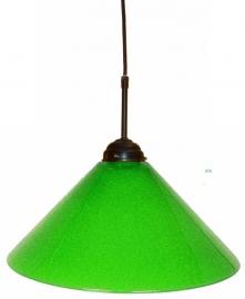 644 Hanglamp met glazen kap effen Ø35cm Groen. Ketting of textielsnoer