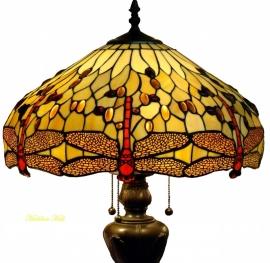 1102 9459 Vloerlamp Tiffany Ø48cm  Bolling in de voet Beige Dragonfly