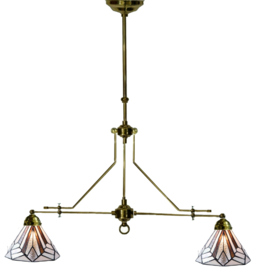 5899 Hanglamp Messingkleur B110cm met 2 Tiffany kappen Ø25cm Astoria Brown