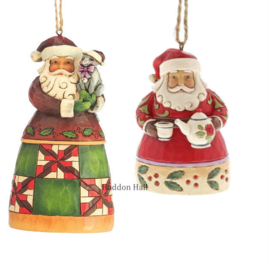 Set van 2 Jim Shore Hanging ornament Santa with Cat - Santa with Teapot