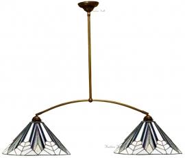 T026M Hanglamp B115cm met 2 Tiffany kappen Ø40cm Astoria