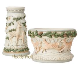 White Woodland Candle Holder & Centerpiece Bowl - Set van 2 - Jim Shore