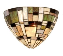 5844 Wandlamp Tiffany B30cm  schelpmodel Art Deco Green