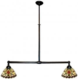 9114 Hanglamp B90cm met 2 Tiffany kapjes Ø25cm
