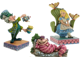 Alice , Mad Hatter & Cheshire Cat - Set van 3 Jim Shore beelden trilogie