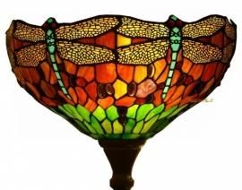 9201 Vloerlamp H184cm met Tiffany kap Ø40cm Red Green Dragonfly