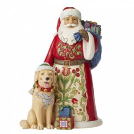 Festive, Furry Freindship -Santa with Dog - H23cm - Jim Shore 6006636