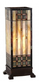 Tafellamp Tiffany  H44cm Windlicht model Art Deco motief 9221