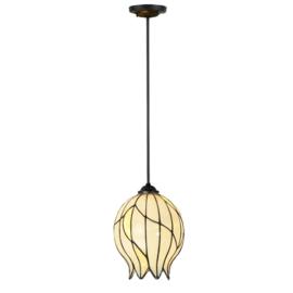8175 Hanglamp Stang Zwart met Tiffany kap Ø22cm Nature