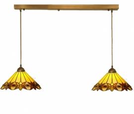 5718 Balk 80cm Lichtbrons met 2 Tiffany kappen Ø35cm