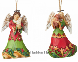 Angel with Cat & Angel with Dog - Set van 2 Jim Shore Hanging ornaments