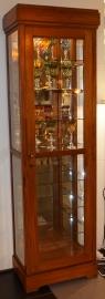 VItrinekast H205cm B61cm D38cm met verlichting Massief Teakhout