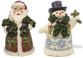 """""""Victorian Santa & Snowman""""Set van 2 Jim Shore beelden"""