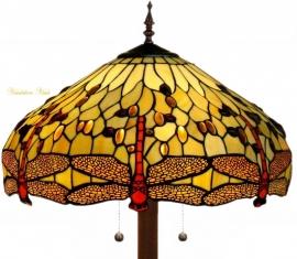 1102 9454  Vloerlamp Tiffany  Ø48cm Ronde voet Beige Dragonfly
