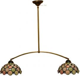 "5797 973 Hanglamp met 2 Tiffany kappen Ø25cm ""Pearl"""