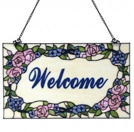 """5644 Voorzetraam Tiffany 54x32cm """"Welcome"""""""