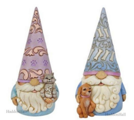 Gnome With Cat & Gnome with Dog H14cm - Set van 2 Jim Shore beelden