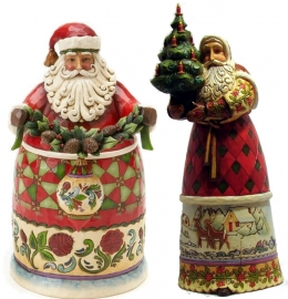 "Set van 2 Kerstmannen H27cm ""Beauty comes from within""&""Light of the season"""
