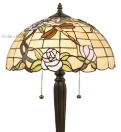 5946 Vloerlamp Zwart H160cm met Tiffany kap Ø40cm Dragonfly on Roses