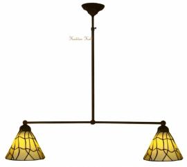 5693 Hanglamp B90cm met 2 Tiffany kapjes Ø25cm