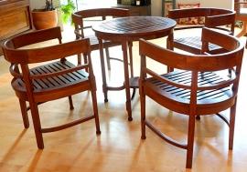 Veranda set -Tafel en 4 stoelen Massief Teakhout