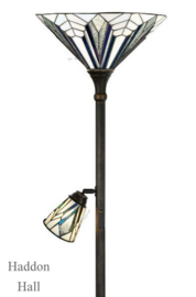 T026M Vloerlamp H178cm met 2 Tiffany kappen Ø41cm en Ø13cm Astoria