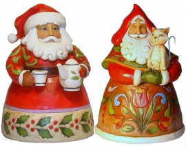 "Set van 2 Pint Santa's H13cm ""Cup of Christmas Cheer""&""Purrfect Christmas"""