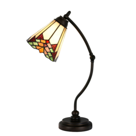 5964 Bureaulamp H50cm met Tiffany kap Ø16cm Stricta