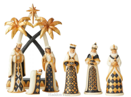 """Black & Gold "" Nativity 7-delig  H27cm Jim Shore Kerststal Kerstgroep"