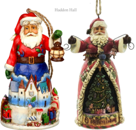 "Set van 2 Hanging Ornament ""Santa with Train""& ""O'Tannenbaum"" Jim Shore"