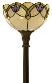 5918 Vloerlamp Uplight H175 met Tiffany kap Ø30cm Luna