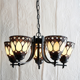 73092 Hanglamp Uplight Ø50cm met 5 Tiffany kappen Ø13cm Brooklyn