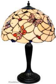 770 Tafellamp Zwart H45cm met Tiffany kap Ø30cm Pink Butterfly